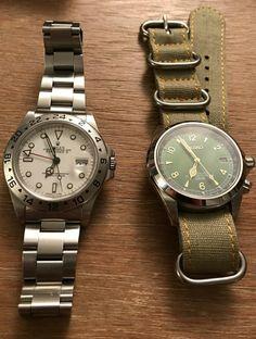 Rolex Explorer II and Seiko Alpinist Cool Watches, Watches For Men, Seiko Alpinist, Iwc Pilot, Rolex Explorer Ii, Seiko Automatic, Expensive Watches, Nato Strap, Fashion Watches