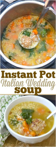 This easy Instant Pot Italian Wedding Soup is perfect year round. Simple yet packed with flavor it's a healthy pressure cooker soup that everyone loves! The nice thing about this easy pressure cooker soup is you can serve it as is or just with […] Instant Pot Pressure Cooker, Pressure Cooker Recipes, Pressure Cooking, Planning Menu, Wedding Soup, Wedding Favors, Cooking Recipes, Healthy Recipes, Healthy Soup