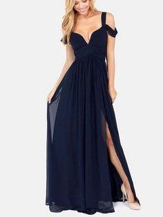 Ladylike V Neck Chiffon Loose Fitting Maxi-dress Maxi Dresses frobm fashionmia.com