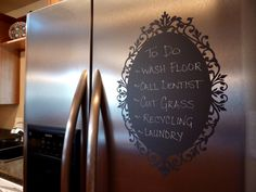 VINYL FRIDGE DECAL FOR WRITING Chalkboard Vinyl Wall Decal - Great for the kitchen, office or anywhere in your home. 18.00, via Etsy.