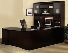 Save big on Sorrento executive desks and furniture configurations at Office Furniture Deals. The Mayline Sorrento series typical is on sale now and available in your choice of wood veneer finish. U Shaped Office Desk, Office Desk With Hutch, Desk Hutch, Office Table, Office Chairs, Room Chairs, Executive Office Desk, Home Office Desks, Loft Office