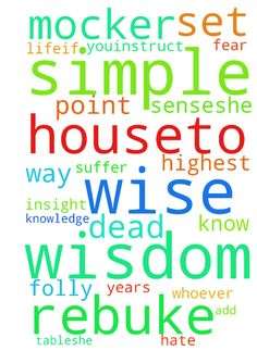 proverbs ch 9 -  roverbs 9New International Version NIV Invitations of Wisdom and Folly 9Wisdom has builther house;she has set upaits seven pillars.2She has prepared her meat and mixed her wine;she has also set her table.3She has sent out her servants, and she callsfrom the highest point of the city,4Let all who are simplecome to my houseTo those who have no senseshe says,5Come,eat my foodand drink the wine I have mixed.6Leave your simple ways and you will live;walk in the way of insight…