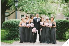 love the color combinations of charcoal and light pink flowers