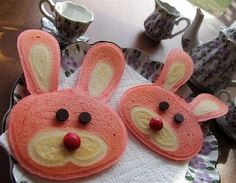 These bunny pancakes are soooo cute!  Perfect for an Alice in Wonderland tea party:)  Instead/with the red food coloring maybe add strawberry puree with the pink and banana with the white for extra flavor and nutrition.