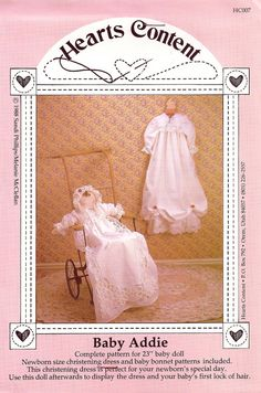 "NEWBORN SIZE CHRISTENING DRESS and BABY BONNET or for 23"" DOLL - Vintage Sewing Pattern - ""Baby Addie"" - at KrissesKorner on Etsy"