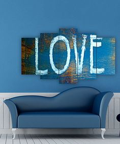 Accent a bare wall with this eye-catching artwork boasting vibrant hues and an intriguing five-panel design. Decor Crafts, Wood Crafts, Home Decor, 5 Panel Wall Art, My Room, Artsy Fartsy, Peace And Love, Canvas Art, Wall Decor