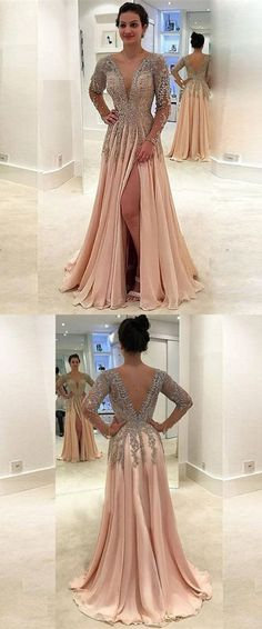A-Line Deep V-Neck Floor-Length Light Champagne Chiffon Prom #prom #promdress #dress #eveningdress #evening #fashion #love #shopping #art #dress #women #mermaid #SEXY #SexyGirl #PromDresses