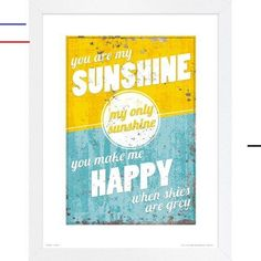 home accents pieces Poster You are My Sunshine in Gelb/Blau East Urban Home Format: Rahmen aus Buchenholz, Gre: 40 cm H x 30 cm B Autumn Painting, Oil Painting On Canvas, Painting Prints, Art Prints, Josef Albers, Frames On Wall, Framed Wall Art, Art Blue, Budget Planer