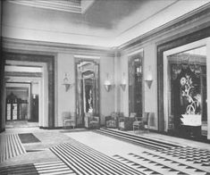 How chic was the Lounge at Claridge's Hotel, c. 1930? Decorated by Oswald Milne, the space was a combination of Art Deco and Modernist decor. The black and cream geometric patterned rug was, yes, by Marion Dorn.