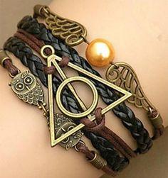 Harry Multilayer Braided Bracelets Vintage Owl Deathly Hallows wings Infinity Bracelet Bangle Gryffindor Slytherin