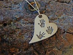 THREE HAND/FOOTPRINT CURVED HEART NECKLACE PENDANT