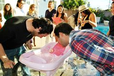 Bobbing for Nipple Coed Baby Shower game - best coed baby shower games. A Star-Studded Baby Shower - Twinkle Twinkle Little Star Baby Shower