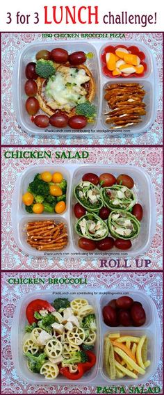 What's in our lunch boxes: More about these lunches here: Same ingredients, 3 lunches