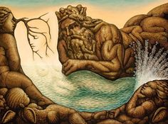 A surrealist illusion painting by Octavio Ocampo of a mermaid and Poseidon, the god of the sea « « Mayhem & Muse Optical Illusions Faces, Funny Illusions, Amazing Optical Illusions, Art Optical, Optical Illusion Paintings, Illusion Kunst, Illusion Art, Image Halloween, Art Magique