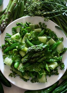 Green Salad グリーンサラダ - asparagus, cucumber, green peppers, pea, Italian parsley…