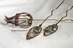 """Bring me a red flower"" Set hairpins made ​​of copper, coral, agate, jade and jasper"