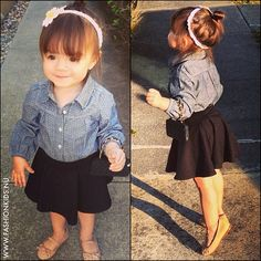 denim shirt and high waisted skirt, she is too adorable!!!