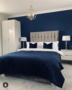 Blue And Gold Bedroom, Navy Blue Bedrooms, Blue Master Bedroom, Blue Bedroom Walls, Blue Bedroom Decor, Bedroom Decor For Couples, Bedroom Wall Colors, Couple Bedroom, Bedroom Color Schemes