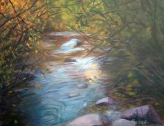 """Hidden Stream and Trees    This acrylic landscape painting was a spot that had trees overgrowing around the stream. It's a hidden place nestled amongst the foliage and rocks near Colorado Springs.                 FOR SALE Original Artwork Details:        16""""H x 20""""W"""