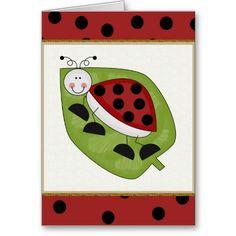 Cartoon Ladybug all purpose greeting card