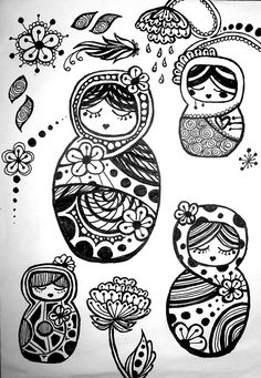 For Sarah-Jane : ) Russian doll doodles. by ~VengeanceKitty on deviantART Doodle Drawings, Doodle Art, Russian Doll Tattoo, Nesting Doll Tattoo, Doll Drawing, Matryoshka Doll, Doodles Zentangles, Colouring Pages, Paper Dolls