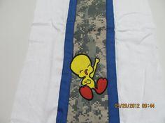 ACU with tweety bird burp cloth by DarLynDesigns on Etsy, $12.00