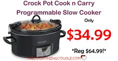HOTTEST PRICE! Have easier meal times with the Crock Pot Cook n Carry Programmable Slow Cooker! Only $34.99!   Click the link below to get all of the details ► http://www.thecouponingcouple.com/crock-pot-cook-n-carry-programmable-slow-cooker/ #Coupons #Couponing #CouponCommunity  Visit us at http://www.thecouponingcouple.com for more great posts!