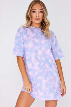 Faythe Lilac Tie Dye Oversized T Shirt Dress Oversized T Shirt Dress, Pastel Tie Dye, Tie Dye Fashion, Cute Lazy Outfits, Tutu, Tie Dye Shirts, Tie Dye Sweatshirt, Tie Dye Outfits, Outfit Trends