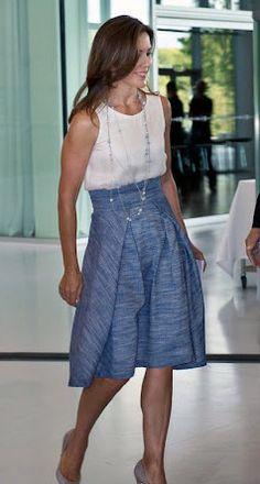 Crown Princess Mary in blue skirt from Bogelund-Jensen dress
