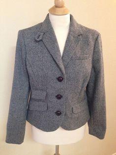NEW LL Bean wool blend BLAZER 8 Petite black tweed lined classic jacket short  #LLBean #BasicJacket