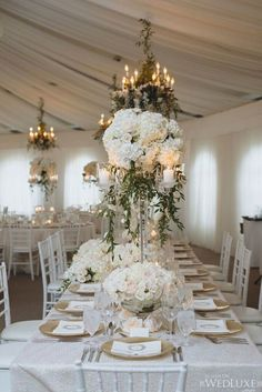 A snowy white summer Canada wedding that is definition of opulence and luxury. Take a look at the gorgeous photography shared by Mango Studios Wedding Reception Flowers, Wedding Reception Centerpieces, Wedding Table Settings, Reception Decorations, Wedding Themes, Wedding Designs, Table Decorations, Wedding Ideas, Centerpiece Ideas