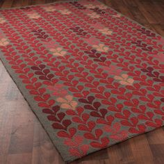 Climbing Modern Vine Hooked Rug:  4 Colors