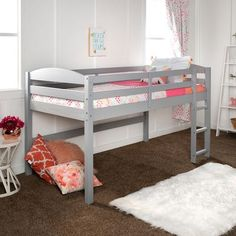 Stylish and sturdy, our low loft twin bed made of solid pine in a painted finish is sure to please anyone, college student to child. The low height to ensure a safe climb at bed time combined with. Low Loft Beds For Kids, Toddler Loft Beds, Loft Beds For Small Rooms, Junior Loft Beds, Bed For Kids, Toddler Girl, Cool Bunk Beds, Bunk Beds With Stairs, Twin Bunk Beds