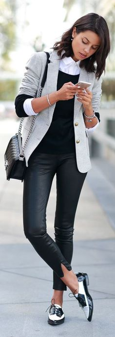 Classic way to wear (p)leather pants.