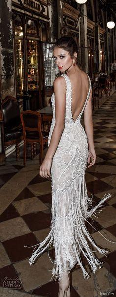 julie vino spring 2018 bridal sleeveless deep plunging v neck full embellishment glamorous elegant sheath wedding dress open v back (07) bv