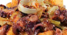 Pulpo con patatas. Aprovechando muy dignamente una lata de pulpo en salsa marinera. Chefs, Salsa, Pork, Chicken, Meat, Potatoes, Easy Recipes, Good Food, Spanish Food