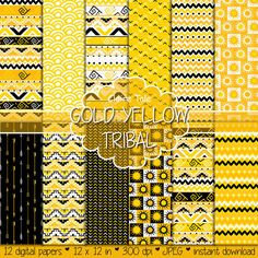 Tribal digital paper: GOLD YELLOW TRIBAL with tribal patterns and tribal backgrounds, arrows, feathers, leaves, chevrons in yellow and black