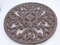 Rakuten: French antique-like iron round trivet flower brown- Shopping Japanese products from Japan