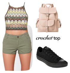 """""""Crochet top"""" by tania-alves ❤ liked on Polyvore featuring RVCA, Topshop, Converse, MANGO and crochettop"""