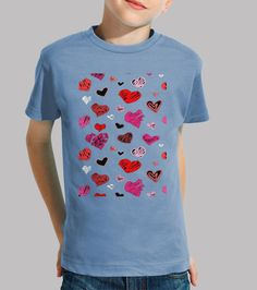 Camiseta niños, Corazones-1 Disponible en 9 colores por 19,90€