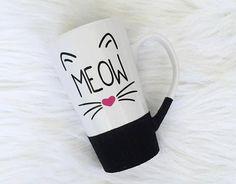 Meow Glitter Dipped Coffee Mug / Cat Coffee Mug / by EmmaJADesigns