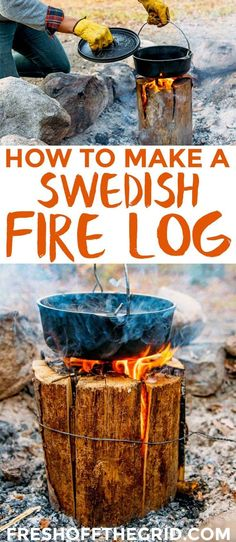 Swedish Fire Log, Canadian Candle, Finish Fire Torch... whatever you call it's one of the coolest camping hacks out there. One log can burn for several hours!