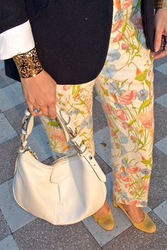 March 29, 2013 http://www.akeytothearmoire.com/post/46604162926/poppies-morning-glories #preppy #classic #chic #elegant #floral #pants #brooch #pin #blazer #hacking jacket #white bag #navy blue #gold #yellow sunglasses #round sunglasses #sunnies #pierced cuff #Ralph Lauren #Brooks Brothers #Dooney & Bourke # Ann Taylor #pink #green #professional #work appropriate