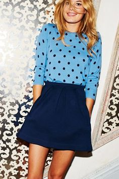 polka dot sweater by boden (I own that) ,navy flared a line skirt (just snagged one from marshalls)