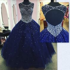 Modest Sparkly Dark Blue Prom Dress Quinceanera Dresses Masquerade 2018 Sheer Neck Open Back Bling Crystal Pageant Dresses For Sweet 16 - Dress Models Dark Blue Prom Dresses, Backless Prom Dresses, Tulle Prom Dress, Prom Party Dresses, Pageant Dresses, Sexy Dresses, Sweet 16 Dresses Blue, Navy Blue Quinceanera Dresses, Party Gowns