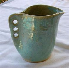 Small Creamer, Syrup or Milk Pitcher, Gravy Boat in Iridescent Green from Pottery by Saleek Hand Built Pottery, Slab Pottery, Pottery Vase, Ceramic Pottery, Ceramics Pottery Mugs, Hand Thrown Pottery, Beginner Pottery, Pottery Ideas For Beginners, Slab Ceramics