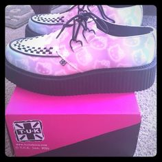 Ombre Hello kitty tuk creepers size 11 Purchased through hot topic, these TUK hello kitty creepers have been worn once, I still have the box and ribbon laces. Women's 11. Tuk Shoes