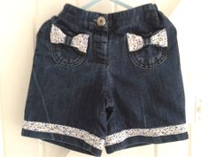 BABY BLUES 'blue-bows' shorts up-cycled denim       9-12 mnths £7.50p