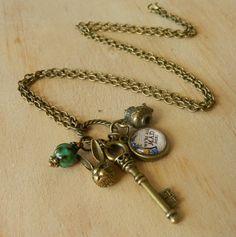 Image of Alice In Wonderland Inspired Charm Necklace Black Pit, Necklaces, Bracelets, Alice In Wonderland, Hipster, Charmed, Inspired, Inspiration, Image