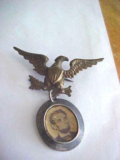"Vintage President Abraham Lincoln Presidential Pin 1860""s ferrotype"